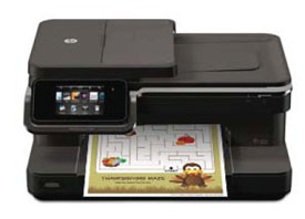 HP Photosmart 7510 e-All-in-One printer with kids activity in print tray
