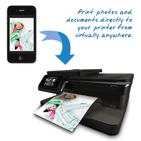 Mobile phone photo being sent to HP ePrint printer