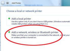 Add a network printer screenshot