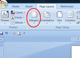 Screenshot of selecting MARGINS