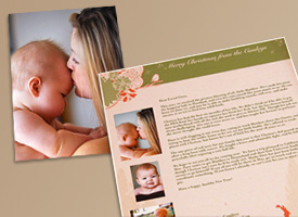 family newsletter with baby photo