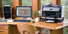 a home office with HP products
