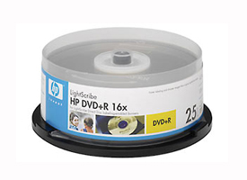 A 25 pack of HP DVD+R LightScribe mv1.2 Media