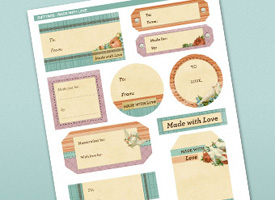 Sheet of gift labels.