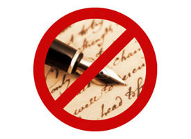 "Image of ""no"" sign on top of stylized handwriting an pen."