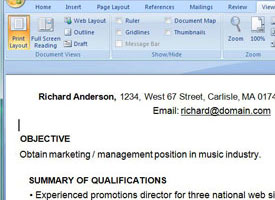 Screenshot of resume in Word.