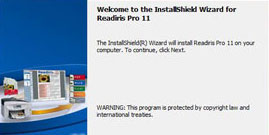 Screenshot of InstallShield Wizard welcome box.