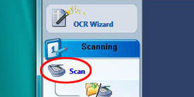 Screenshot of Scan option circled in red.