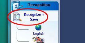 Screenshot of Recognize + Save option circled in red.