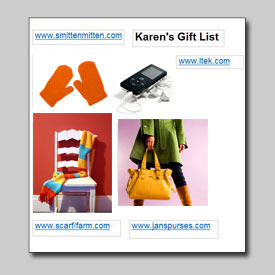 Image of gift list made w/ Smart Web Printing