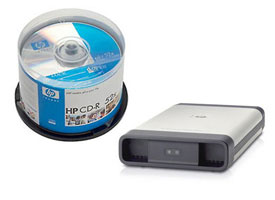 Image of HP portable media drive and CDs.