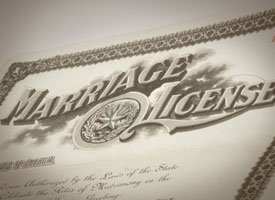 Image of vintage marriage license.