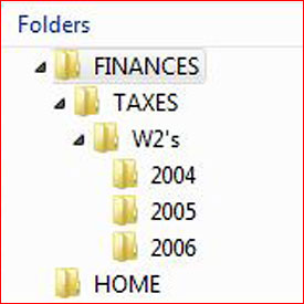 Folders arranged on desktop.