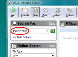 Screen shot of OCR Search box on a desktop PC