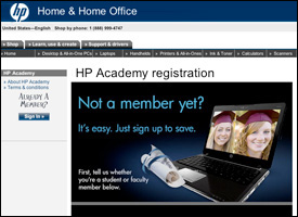 Screenshot of the HP Academy online homepage.