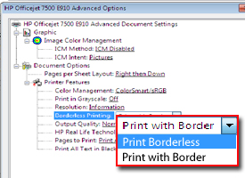 Print Borderless highlighted on PC