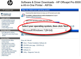 Screenshot: HP software and driver downloads