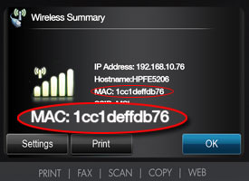 Screenshot: MAC address