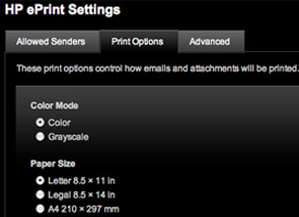 Screen shot of ePrint settings—print options
