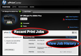Recent Print Jobs circled in red