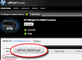 ePrint settings circled on ePrint