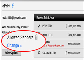 HP ePrint settings: Allowed Senders circled in red