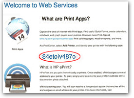 Enable Web Services highlighted on printer display