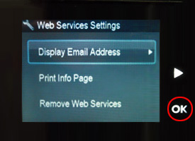 Display email address on printer's display screen