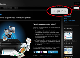 """Sign in"" circled in red on ePrintCenter home page"