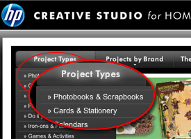 HP Creative Studio's free printable greeting cards