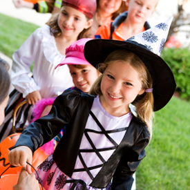 photo of trick or treating kids