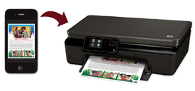 Smartphone sending newsletter to printer using HP ePrint
