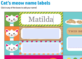 screenshot of name typed on Cat's meow name labels
