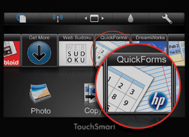 Quick Forms circled on an HP Photosmart Premium e-All-in-One