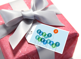 gift with recycled greeting card gift tag