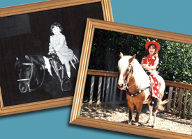 two generations of framed photos, each with a little girl on a horse