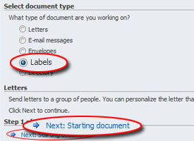 "Mail merge wizard screen, highlighting ""Labels"" and ""Next"