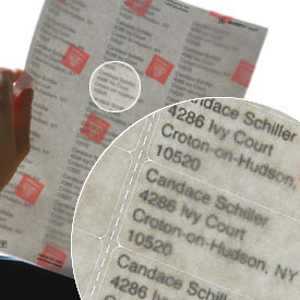 Close-up of address labels