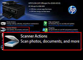 Scanner Actions option highlighted in red