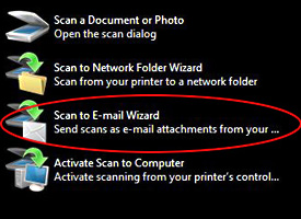 Scan to E-mail Wizard option circled in red