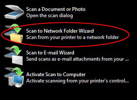 Scan to Network Folder Wizard option circled in red