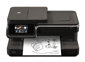 photo of HP printer with kids' game in tray