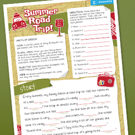 summer road trip printable story