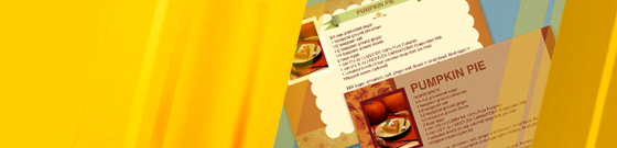 Seasonally themed recipe cards with yellow color wash