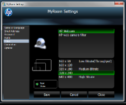 HP MyRoom settings