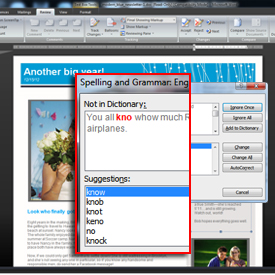 screenshot of spelling and grammar check on a PC