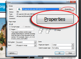 screenshot of print box with Properties callout