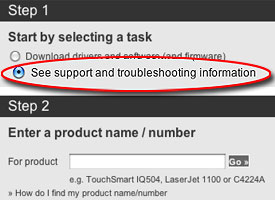 Choose See support and troubleshooting information circled