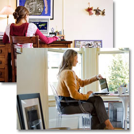 Girl printing from her room. Mother printing from the den