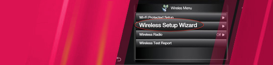 Wireless Setup Wizard screenshot with magenta color wash